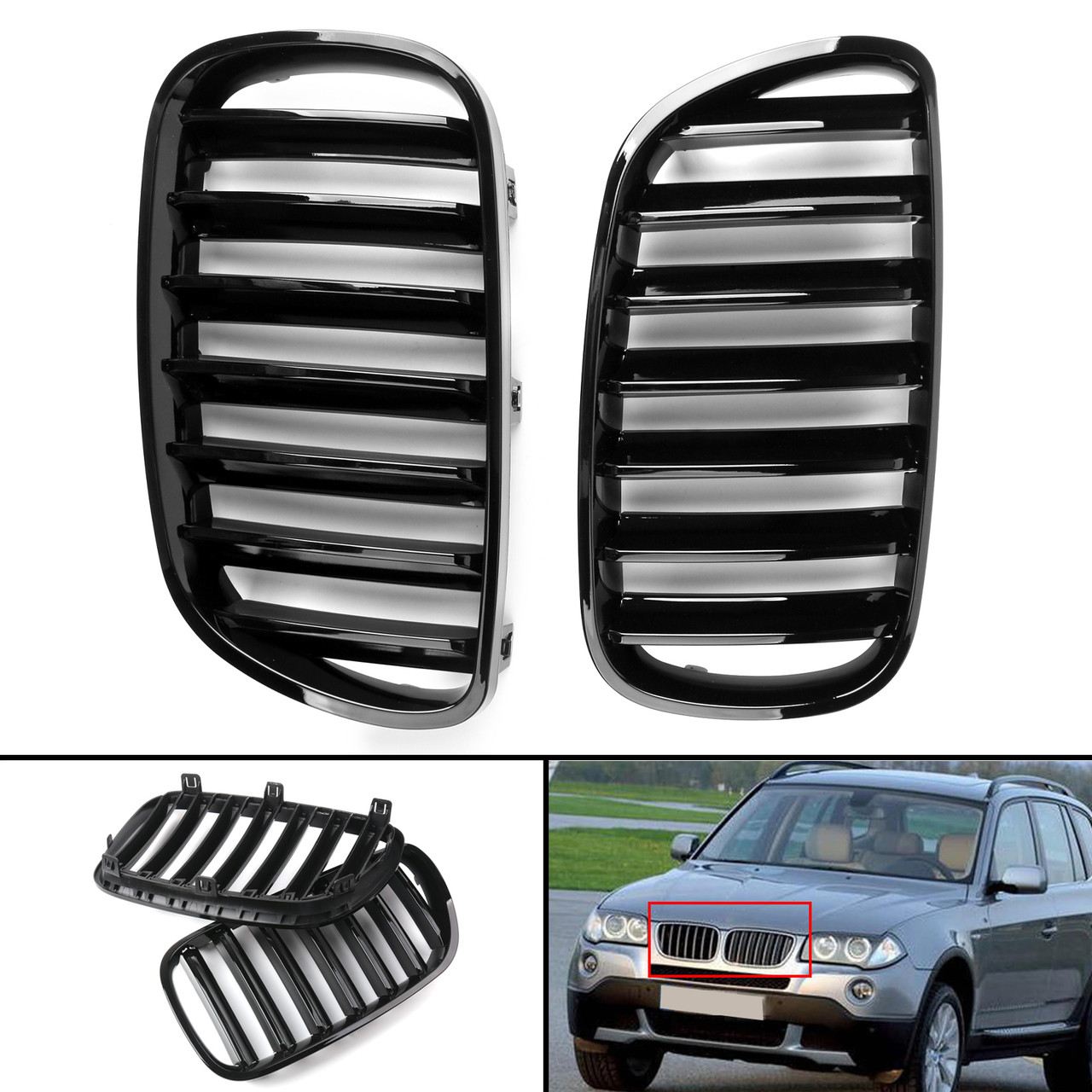 For BMW E83 X3 LCI Facelift //////M-Color Gloss Black Front Kidney Grille 2007-2010