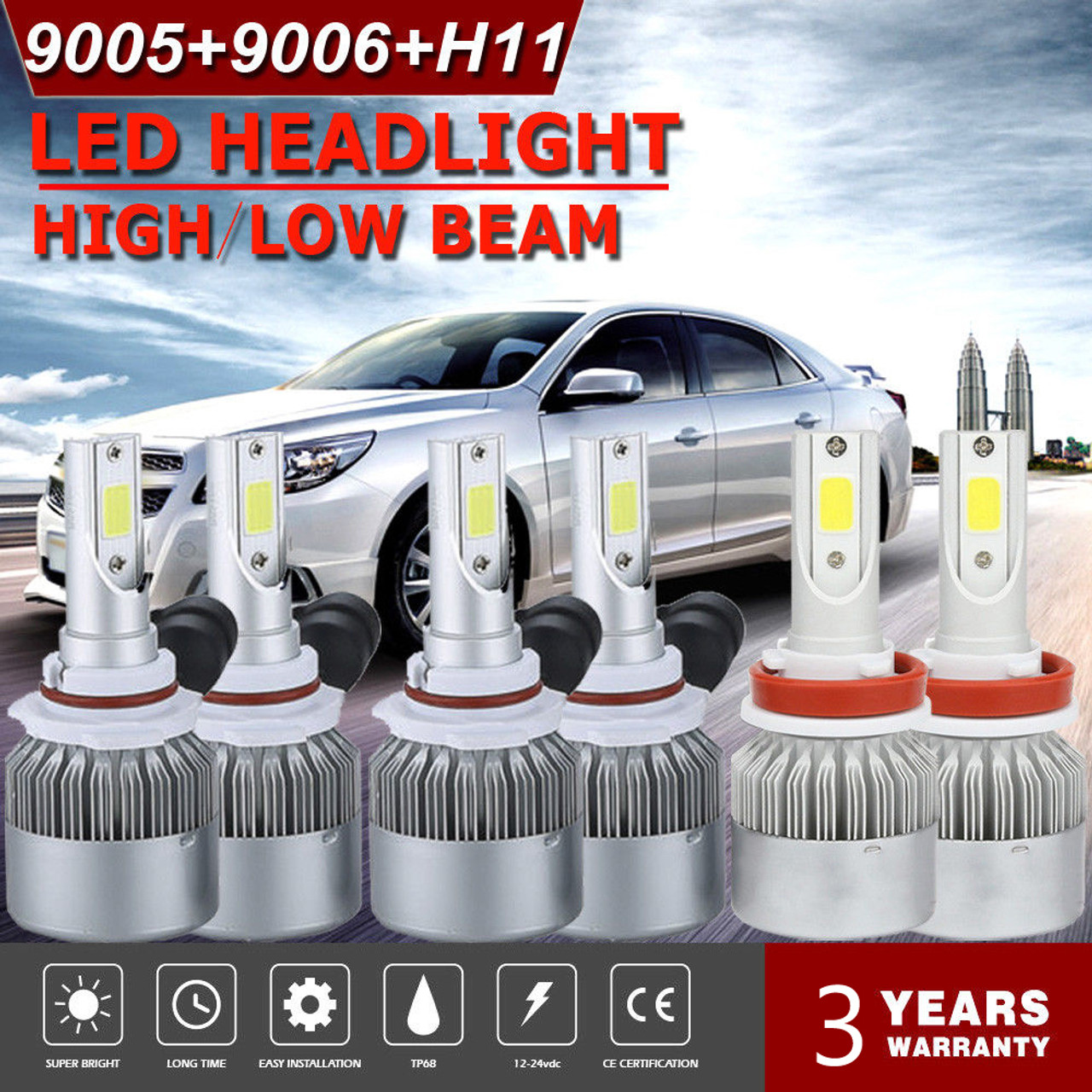 2Pcs H13 Bulbs 72W COB Fog Light 9008 Car LED Lamp Headlight 4x4 Auto Parts US