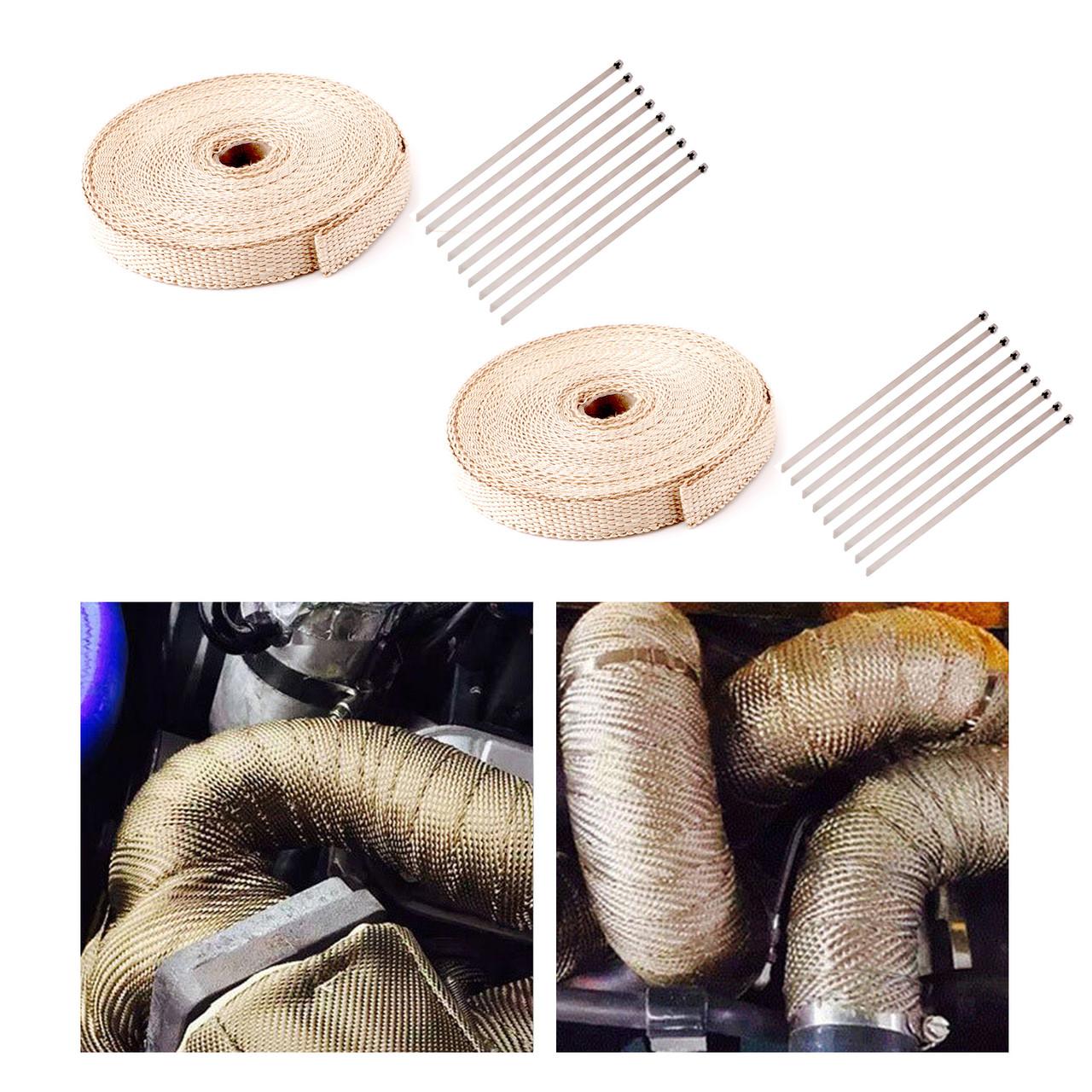 "1/"" or 2/"" In x 50FT Exhaust Header Fiberglass Heat Wrap Tape Kit w// 5 Steel Ties"