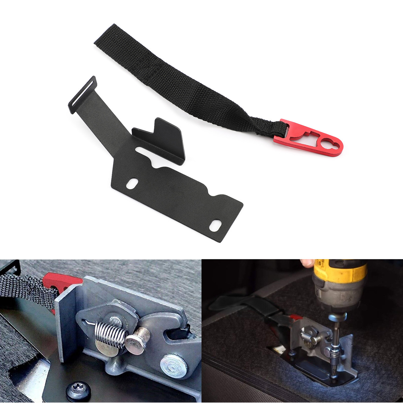 Rear Seat Release Kit Red Strap for Ford SuperCrew F-150 2009-2018//SuperCab F-150 2015-2018//F-150 Raptor 2017-2018//F-250//F-350 2017-2018.