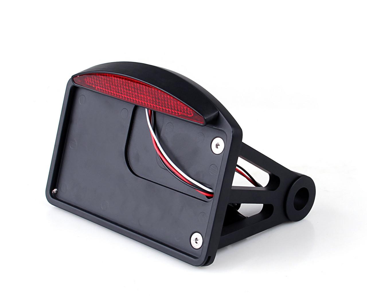 Side Mount Black License Plate LED Tail brake light For Harley Davidson and  Custom Bikes with 1
