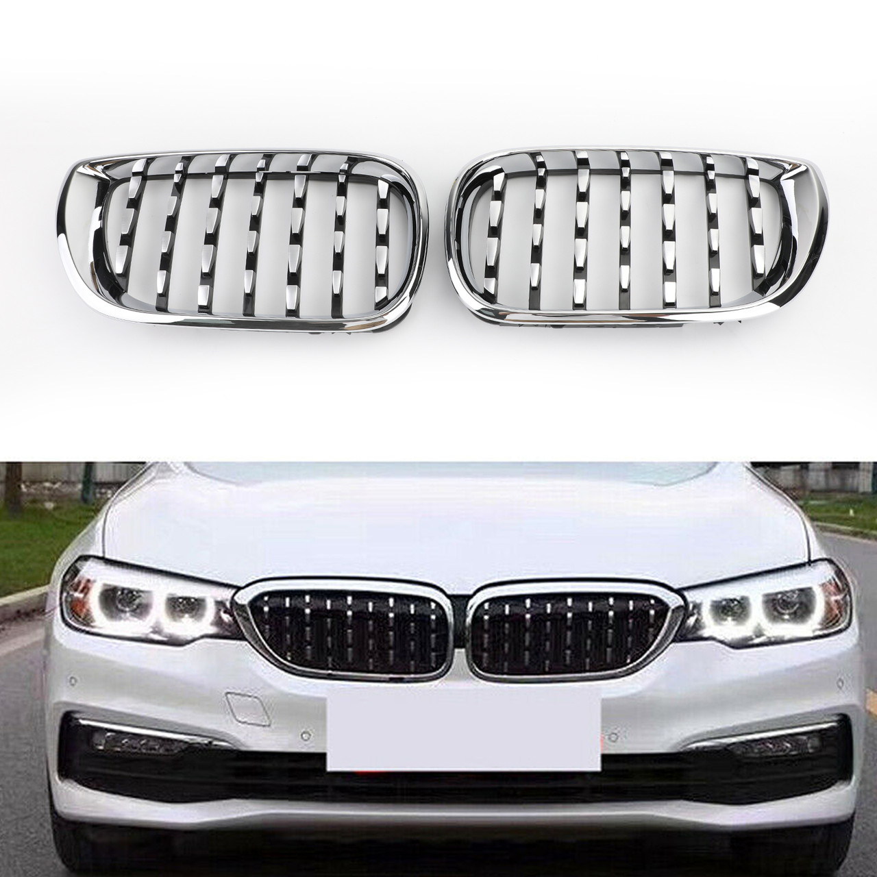 Car Tuning Styling For Bmw E46 02 05 Facelift 4dr Touring Front Grill Grille Dual Line Gloss Black Vehicle Parts Accessories Visitestartit Com