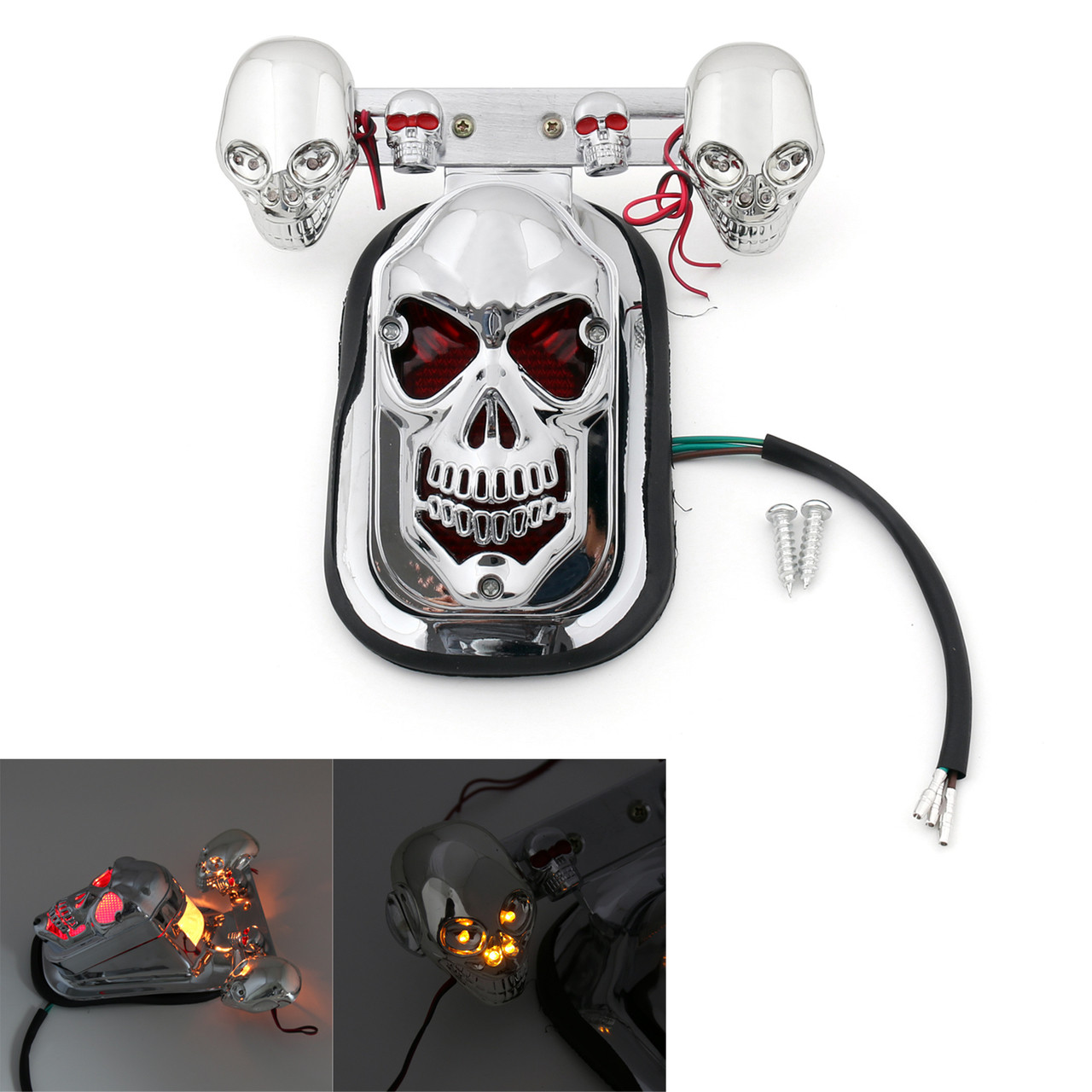 Motorcycle 3D Skull Face 12V LED Brake Taillight w//Turn Signals+License Plate