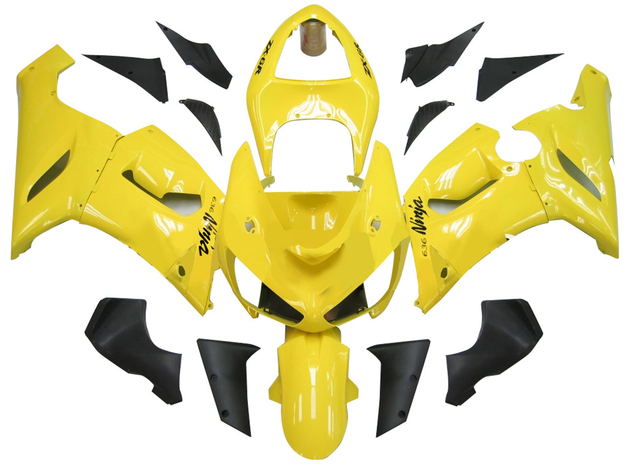 Fairings Kawasaki Zx6r 636 Yellow Black Ninja Racing 2005 2006