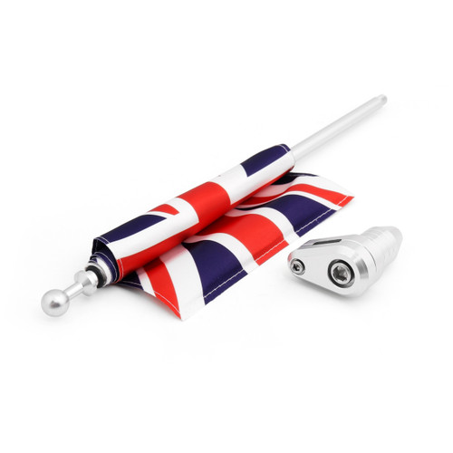 Rear Luggage Rack Bracket Mount Steel Flagpole UK Flag Honda Goldwing GL1800 (2001-2012), Chrome