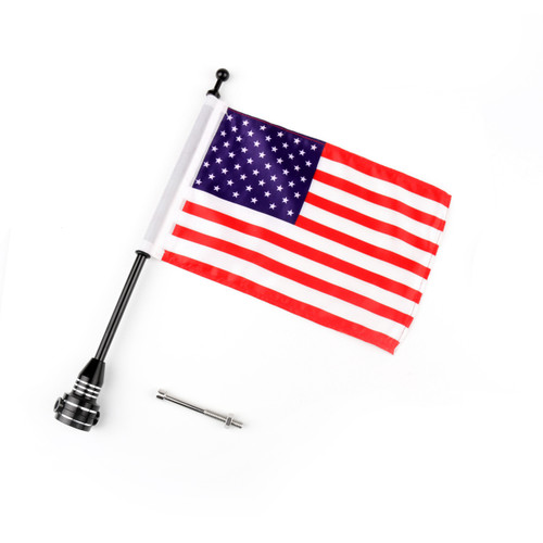 Flag Pole Mount Luggage Rack Vertical USA Harley-Davidson Touring Road King Glide & FLHT, Black