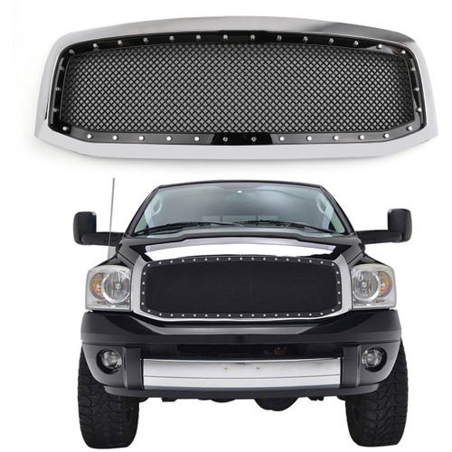 Mesh Style Front Hood Grille Rivet For Ram 1500/2500/3500 (2006-2008) Chrome