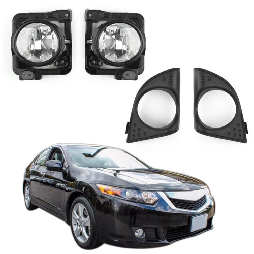 LH+RH Foglight Fog Light Lamp Cover Metal Without Bulbs for Acura TSX (2009-2010)