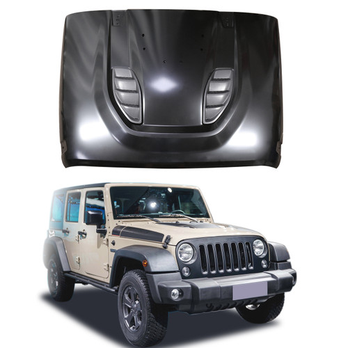 Front Rubicon 10th Anniversary Hard Rock Style Hood For Wrangler JK 07-18 Black