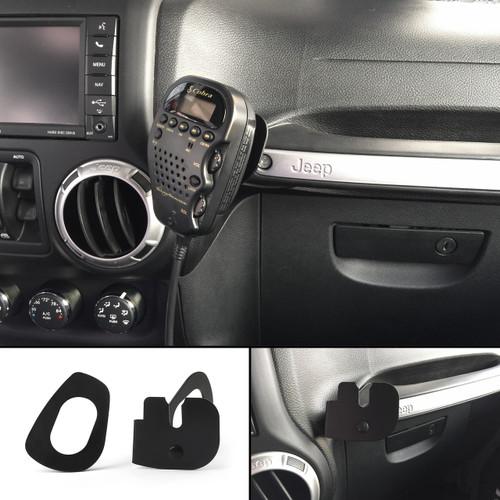 CB HAM Radio Mic Bracket Passenger Grab Bar Mount Jeep Wrangler JK 2011-2017, 75WXST Cobra