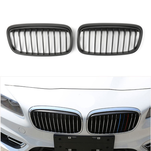 1Pair Front Kidney Grill Grille For BMW F45 F46 Active Tourer Gran Tourer (2015 )Black
