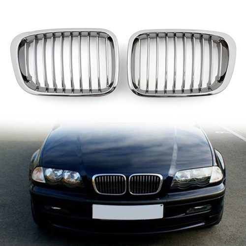 Car Front Fence Grill Grille BMW E46 4 Doors (1998-2001) 3 Series, Chrome