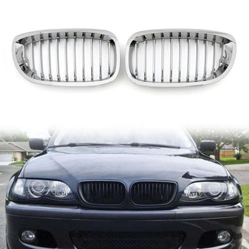 Car Front Fence Grill Grille BMW E46 2 Doors (2002-2007) 3 Series, Chrome