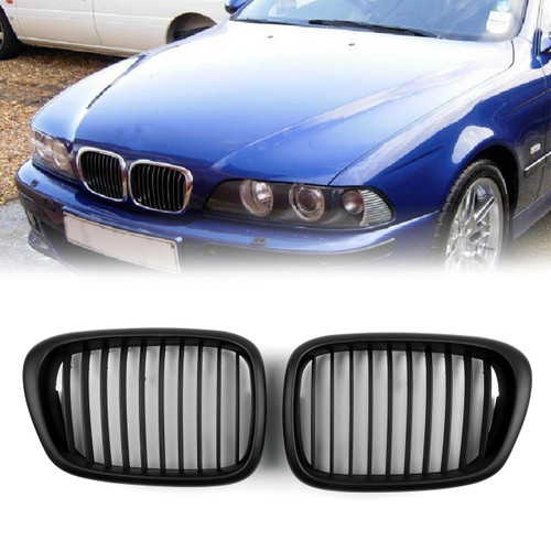 Front Fence Grill Grille ABS Matt Mesh BMW 5-Series E39 (2001-2004) Matte Black