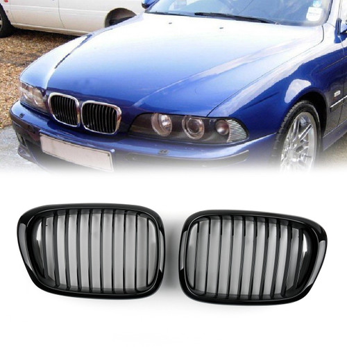 Front Fence Grill Grille ABS Matt Mesh BMW 5-Series E39 (2001-2004) Gloss Black
