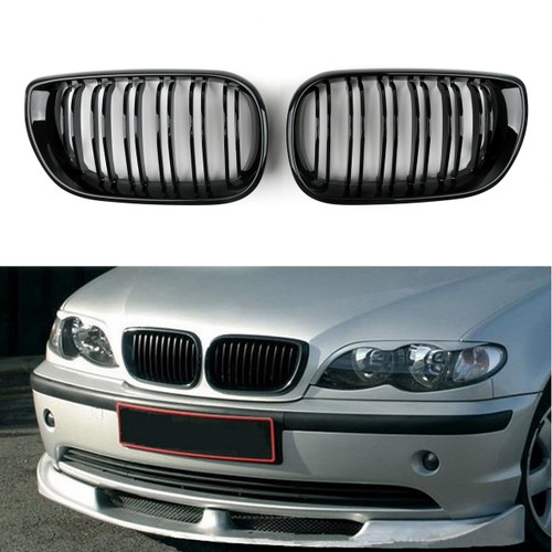 Kidney Grille Grill Double Rib BMW E46 3 Series 4 Door (2002-2005) Gloss Black