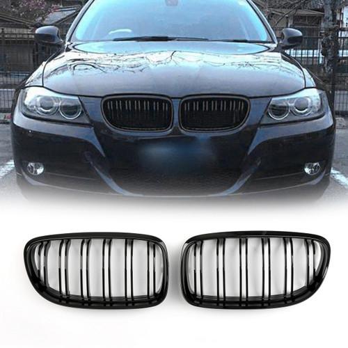 Kidney Grille BMW E90 E91 LCI 3 Series Sedan 4 Door (2008-2012) Gloss Black