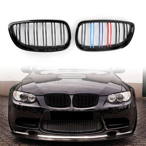 Kidney Grille Grill Double Rib For BMW E92 2D Coupe E93 Convertible Pre-Facelift 2006-2009 Black