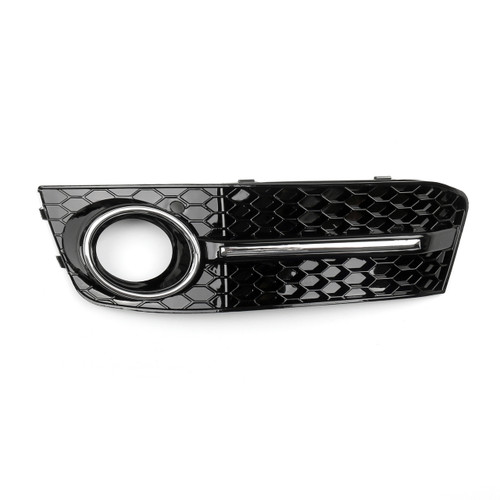 Bumper Grills Left Fog Light Grilles Cover for Audi A4 B8 (2009-2011) Black