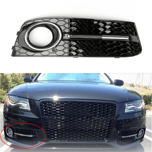 Bumper Grills Right Fog Light Grilles Cover for Audi A4 B8 (2009-2011) Black