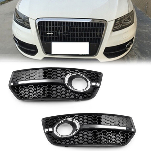 1Pair Front Bumper Grill Fog Light Lamp Covers Trim For Audi Q5 2009-2011 New US