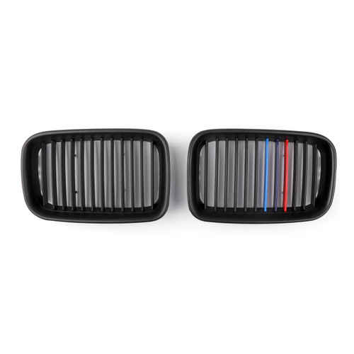1Pair Matte Front Hood Grille Kidney For BMW E36 3 Series M3 (1995-1996) Black