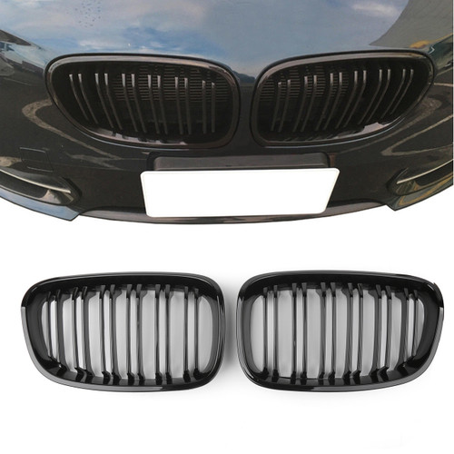 2Pcs ABS Front Bumper Cover Grill Grille for BMW 1 Series F20 (12-14) GlossB