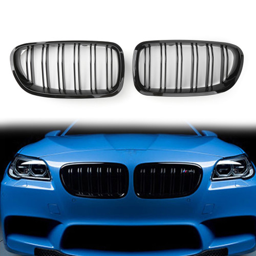 Double Line Front Hood Kidney Grill Grille For BMW 5Series F10 / F11 /F18 (10-16) Gloss Black