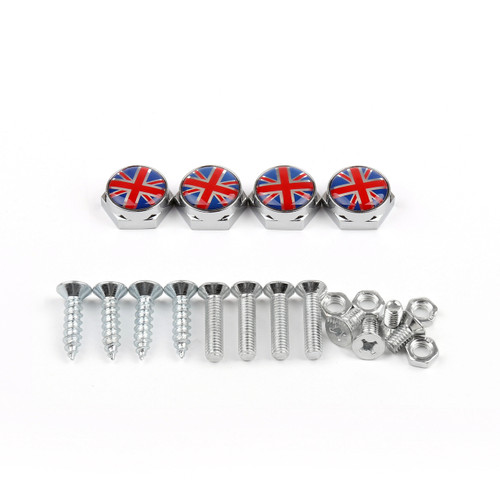Union Jack Chrome Metal License Plate Frame Screw Bolt Cap Mini Cooper, Red Blue