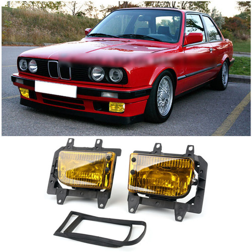 Front Bumper Fog Lights Plastic Lens Kit for BMW E30 3-Series Sedan  (85-93) Yellow