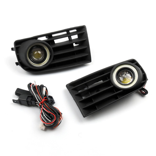 Front Angel Eyes Fog Lights + Grille for VW Golf 5 MK5 Rabbit 2003-2009