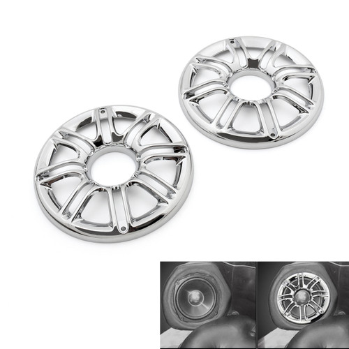 """Speaker Cover Grill 6"""" 3D Round Rear Front Harley Touring Glide (1997-2013) Chrome"""