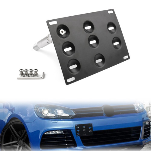 Front Bumper Tow Hook License Plate Mounting Holder Bracket For VW Golf 6/7 Black