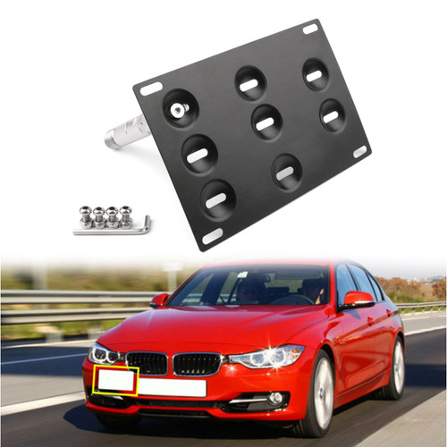 Bumper Tow Hook License Plate Mount Bracket For BMW F30 F32 F10 3/4/5 SERIES Black