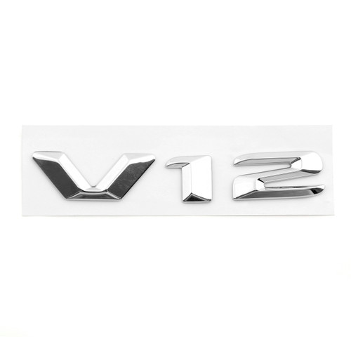 V12 Metal Side Emblem Letters Badge Decal Letter Universal, Chrome
