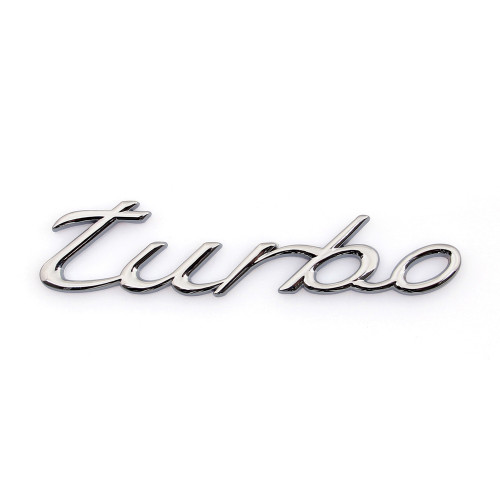 Head Grill Tailgate Emblem Badge Sticker Decal for Porsche Turbo, Silver