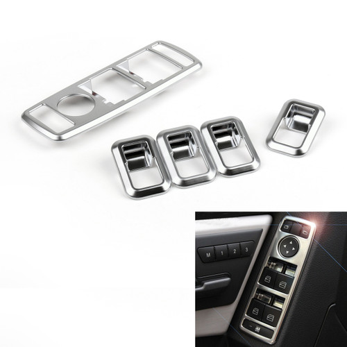 5PCS Window Power Switch Cover Benz W204 W212 W207 W166 W246 X204, Chrome