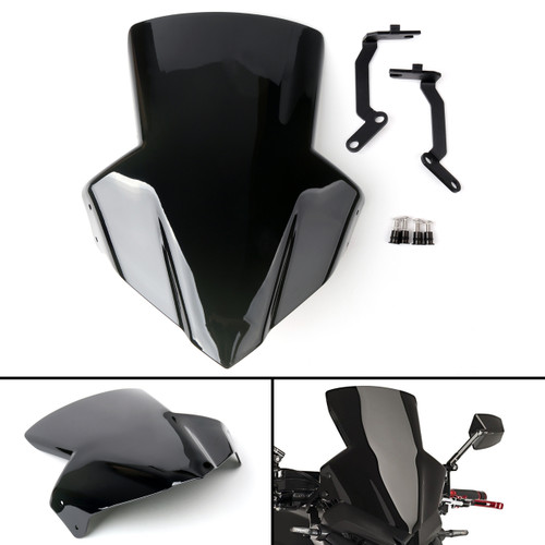 ABS Plastic Windscreen Windshield Shield with Bracket For Honda CB650F 14-17 Black