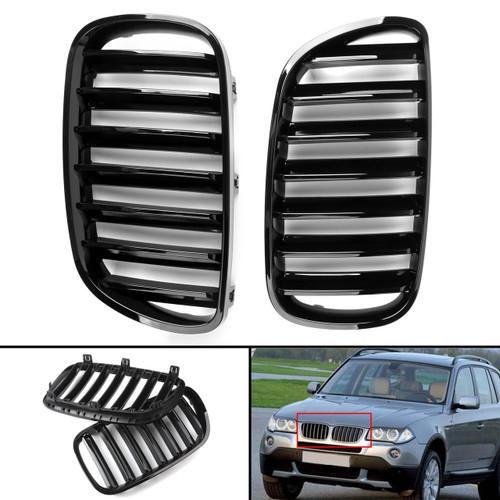 Kidney Grille For BMW X3 E83 LCI Facelift 2007-08-09-2010 Gloss Black