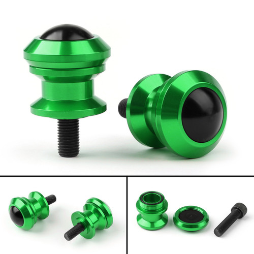 10mm Billet Swingarm Spools Sliders Universal For Kawasaki Ninja 250R 1000 ZX 6R ZX10R Green