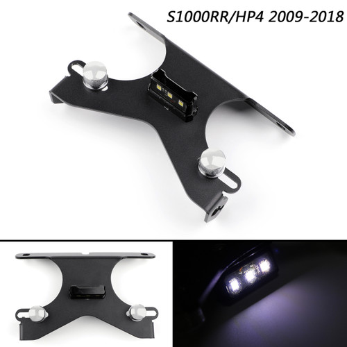 CNC License Plate Bracket Number Holder Plate LED For BMW S1000RR HP4 2009-2018 Black