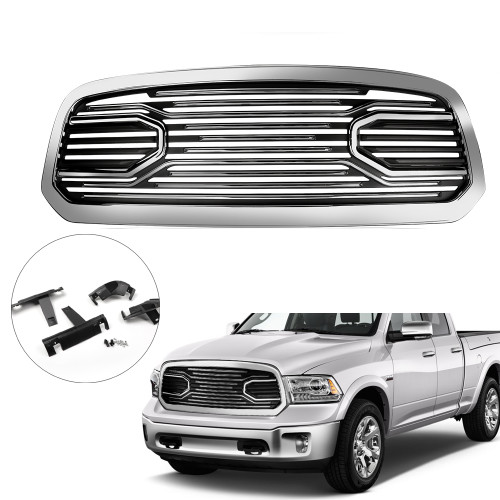 Mesh Front Grille Shell For Dodge Ram 1500 2013-2018 Chrome