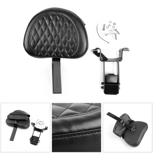 Plug-In Driver Backrest + Mounting Kit For Indian Chieftain Roadmaster 14-18 Black
