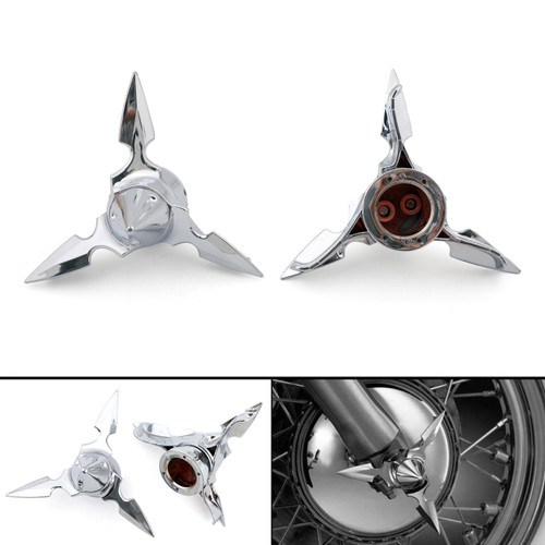 Spun Blade Spinning Front Axle Cap Nut Cover For Harley Softail Touring Chrome