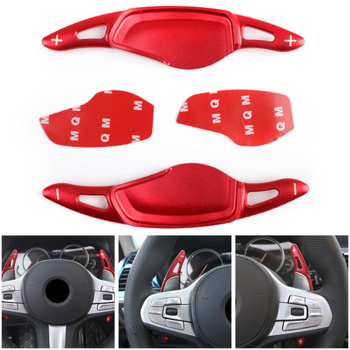 Pair Steering Wheel Shift Paddle Shifter Trim for BMW 5 Series G30 530liM 2018 Red