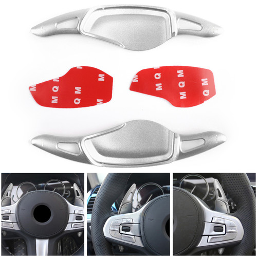 Pair Steering Wheel Shift Paddle Shifter Trim for BMW 5 Series G30 530liM 2018 Silver