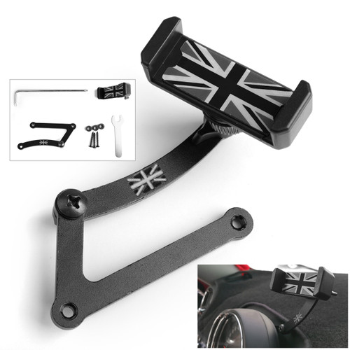Union Jack Car Phone Mount Folding Holder For Mini Cooper R55 R56 R57 R60 R61,F54 F55 F56 F57 F60 Black&Gray