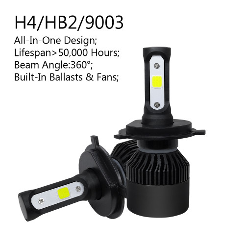 2PCS H4/HB2/9003 All-in-One LED Headlight 72W 8000LM Kit Hi/Lo Beam 6000K BLACK