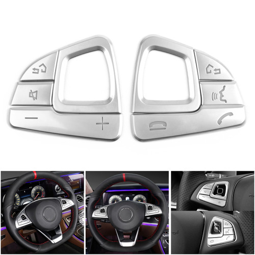 Steering Wheel Button Trim Sequins For Mercedes Benz E class W213 Silver