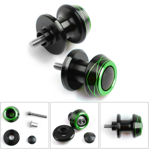 2pcs CNC Swingarm Spools Sliders For Universal Motorcycle Starting Screw 6MM Green